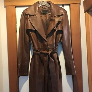 Gorgeous BCBG Max Azria Brown Leather Trench